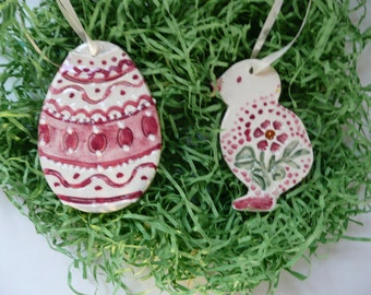 Easter Handmade Ceramic Ornaments - chick and egg