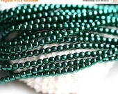 30%OFF SALE Czech pearl beads, Full Strand - Emerald Green - faux pearls, tiny spacers, round, druk - 2mm - 150Pc - 1531