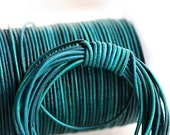 1mm Round Natural Leather cord - Vintage Dark Teal - 10 feet, LC033
