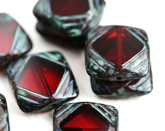 Square beads, Dark Red  Czech glass beads, picasso finish, table cut, squares - 15mm - 4Pc - 2545