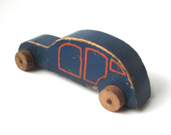 Antique Wood Toy Car, Sedan, automobile, vintage toy, 1930s or 40s, rare