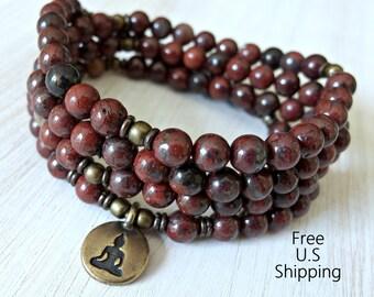 108 mala, Red Jasper, Om, Mala Bracelet or Necklace,Reiki charged, Buddhist Rosary,Prayer beads, Gemstone, wrist mala, Lotus, buddha, ohm