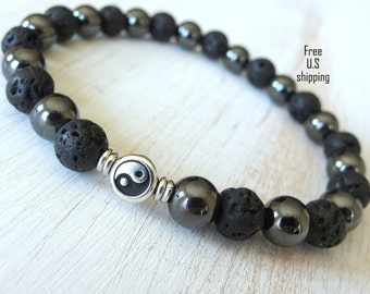 Men's Balance & Grounding Lava, Hematite with Yin yang Guru bead,  Meditation bracelet, Reiki Charged, free shipping