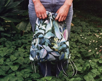 Greenhouse Daybag - a versatile backpack and tote back with bright floral pattern