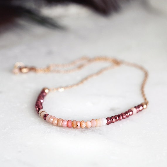 Pink Opal Necklace - Dainty Gemstone Necklace