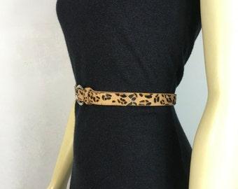 Vintage Belt Leopard Print Fur Belt medium to large