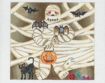 Hand painted needlepoint Canvas Halloween - Mummy Roll up