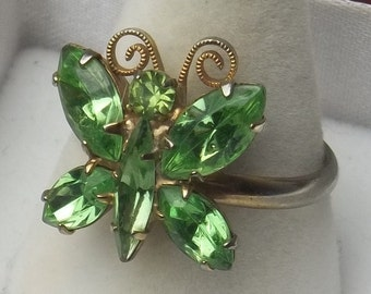 Mint Green Navette Rhinestone Butterfly Adjustable Vintage Costume Jewelry Ring