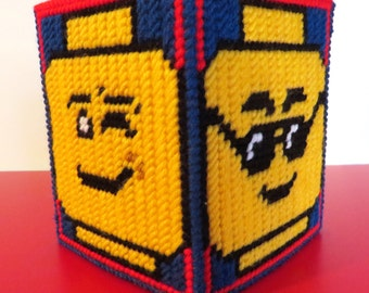 Hand stitched Lego tissue box