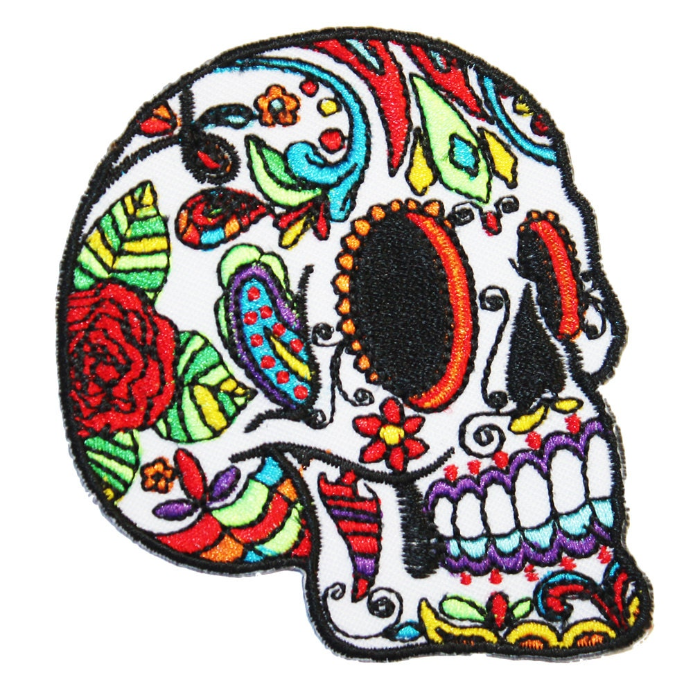 Sugar Skull Iron On Patch Embroidery Sewing DIY Customise