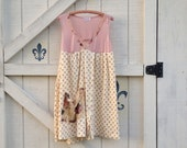 Bohemian dress M beach yellow pink boho chic Beach romantic, upcycled clothing Shaby Vintage
