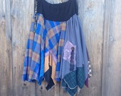 RESERVED....Bohemian skirt,plaid Hippie patchwork gypsy skirt, upcycled clothing by Shaby Vintage