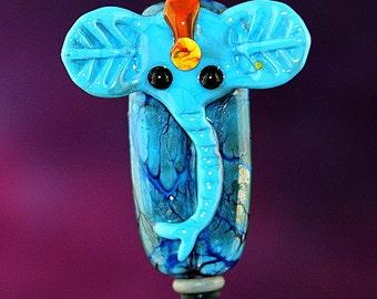 Blue Elephant Handmade Lampworked Glass Bead OOAK Blue Black Red Yellow Sculpted Focal Lampwork