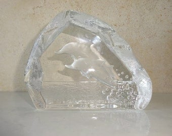 Vintage Dolphin Nybro Sweden Glass Paperweight Paper Weight Dolphins Jumping Desk Decor