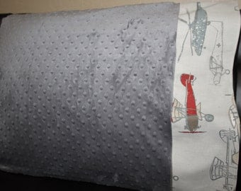 Minky Pillowcase with Your Choice Cuff - Deer, Airplane,  Anchor, Buck, Arrow, Baseball, Chevron, Stripe