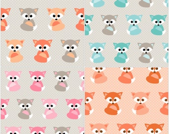 Nursing Pillow Cover - Fox and Minky Boppy Cover - Neutral, Woodland, Foxes