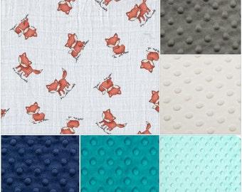 Fox Baby Blanket -  Fox and Minky Baby Blanket