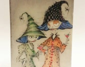 Original witch art, Sassy Witch sisters, watercolor art, ink, Resin Button Art, Home Wall Art, birthday gift, sister art