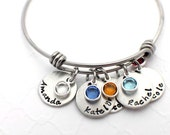 Hand Stamped Personalized Mom Bracelet - Adjustable Bracelet - Mother's Bracelet with Birthstones - Birthstone Bracelet - Mother's Day Gift