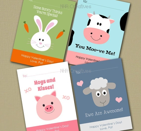 personalized farm animal valentine's day cards bunny, Ideas