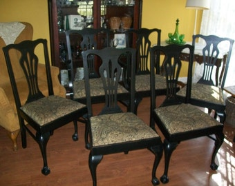 Dining Chairs Set of Six Ball and Claw Painted Distressed