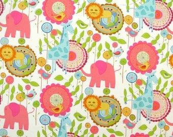"2277  - 1 yard Cotton fabric - Elephant,deer,bird,flower,leaf (140cmx91.44cm,55""x36"")"