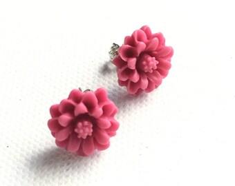 Pinup Pink Flower Stud Earring, Pink Dahlia, Retro Glam, Rockabilly