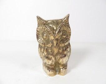 Vintage Brass Owl - Brass Owl Figurine - Brass Owl