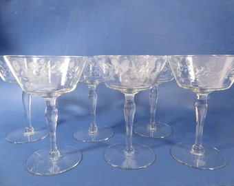 Mid Century Crystal Champagne Glasses Sherbets - Set of 6 Vintage Champagne Coupes Saucers