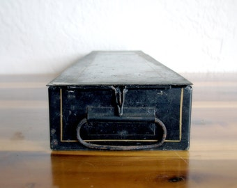 Vintage Bank Deed Box - Security Deposit Box - Black Rusty Patina