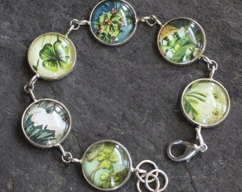 Bracelet, Victorian era postcard images, under glass, green/white florals, vintage, antique, jewelry, assemblage up cycled