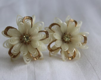 1950 Vintage Pearly Plastic Gold and Rhinestone Flower Earrings