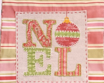 Handmade Holiday Pillow with Embroidered NOEL