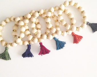 JEWELERY Collection: Fall tassel natual wood bead bracelet--choose your color