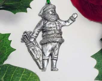 Santa with golf bag - Fine Pewter Christmas Ornament