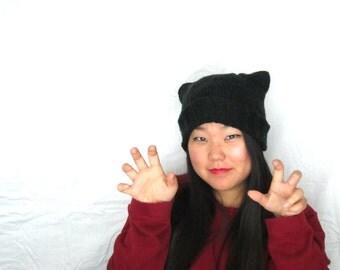 Little Black Cat Beanie-- Cute Kawaii Black Dark Cat Ears Beanie Hat, Ready to Ship