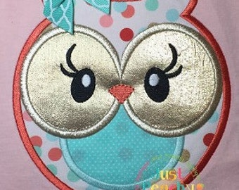Sweet Owl Girl Machine Embroidery Applique Design Buy 2 for 4! Use Coupon Code 50OFF