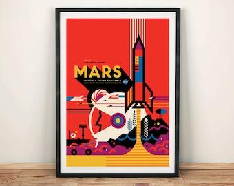 MARS POSTER: NASA Space Art Print Wall Hanging
