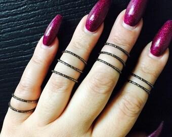 Black stackable rings, set of 10