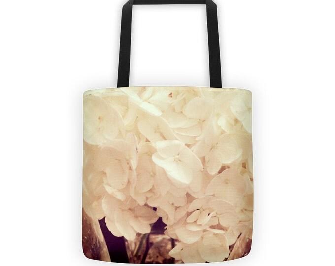 Creamy White Botanical Tote, White Petals Tote for Eco Friendly Reusable Shopping