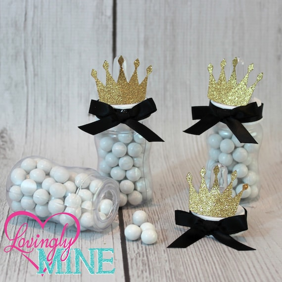 Prince Baby Shower Favors: Little Prince Baby Bottle Favors In Black & Glitter Gold Set
