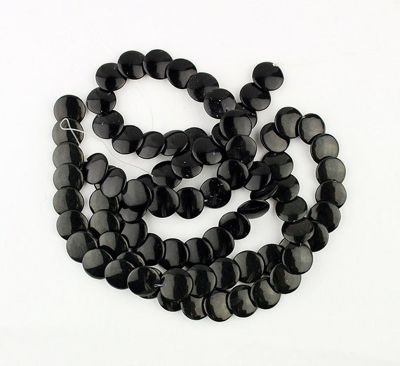 Basket Weaving Supplies Portland Oregon : Black obsidian beads free shipping in usa round flat