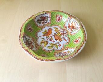 Vintage Tin Floral Bird Bowl Tin Box Company