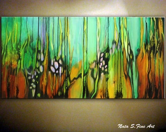 """Abstract Art.Original Painting.Modern Contemporary Decor.Turquoise & Rust Painting.Teal Large Artwork  24""""x48"""" Wall Hangings -  by Nata S"""