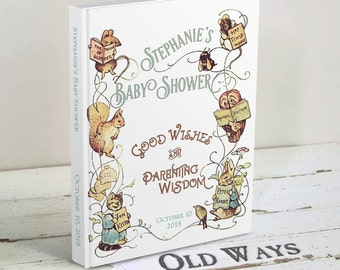 Storybook Baby Shower Guest Book, Wishes for Baby, Advice for Parents - Vintage Beatrix Potter Bring a Book Shower - Personalized Guestbook