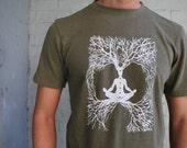 Hemp and Organic Cotton Meditation shirt / Mens / Unisex tee - Bamboo and organic Cotton tee / yoga clothes