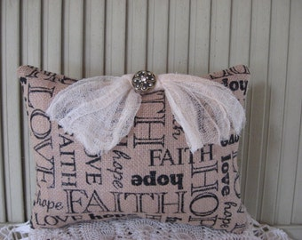 Pillow Burlap Faith Hope Love Lettering Tan and Black Gauze Bow Gold Jewel Button 10x7 Home Decor Small Pillow