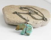 Turquoise Bear Fetish Silver Tone Necklace // Southwestern Vintage Estate Jewelry // fruitsdesbois