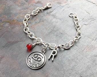 July Cancer Zodiac - Zodiac Jewelry - Cancer Sign - Ruby Birthstone - Initial Letter Charm - Silver Birthstone Jewelry