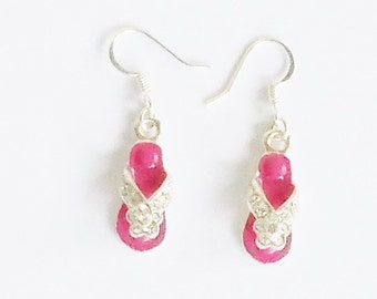 Flip-flop Earrings in Hot Pink - Color Pop Enamel and Rhinestone Dangle Earrings - Fun Costume Jewelry for Spring, Summer, and the Beach